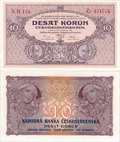 10 Korun 1927 by Alphonse Maria Mucha