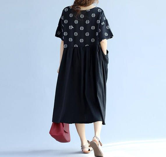 round collar Large size dress long Cotton and linen sundress