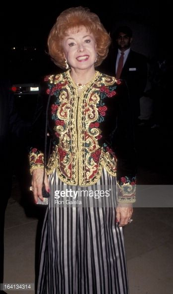 """Audrey Meadows attending """"Society of Singers Gala"""" honoring Frank Sinatra at the Beverly Hilton Hotel. December 3, 1990."""