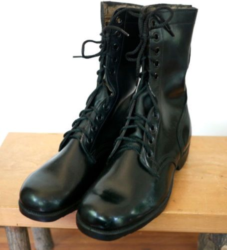 new vintage 70s us black leather combat jump
