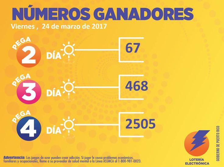 Loteria Electronica numeros ganadores del Juego Pega Día, Viernes 24 Marzo 2017
