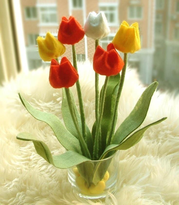 Тюльпаны из фетра фото
