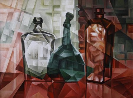 Старые бутылки. Кубофутуризм. Old bottle. The Cubo-futurism.