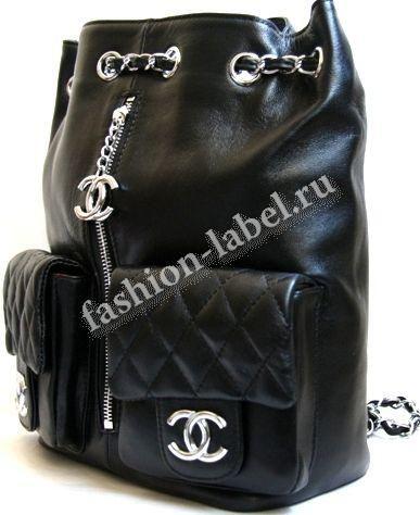 Рюкзак Chanel (Шанель) черный кожаный с карманами, купить тут, интернет магазине в наличии