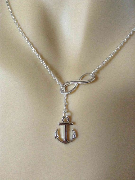Lariat Infinity Anchor Necklace-simple necklace, gifts for sister, nautical necklace lariat necklace, small necklace, stocking stuffer gifts on Etsy, $23.00
