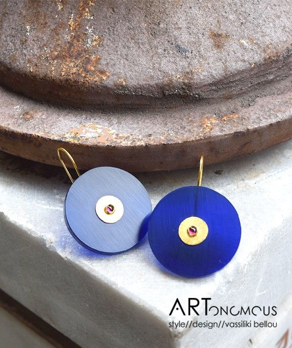 Blue earrings from My Plastics Collection
