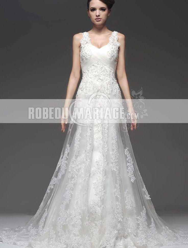Prix : €135,99 Lien pour cette robe : http://www.robedumariage.com/robe-de-mariage-magnifique-dentelle-tulle-applique-empire-col-en-v-product-7026.html