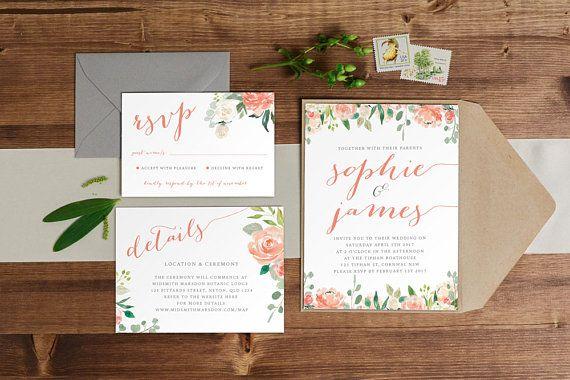 DIY Printable Watercolour Floral Watercolour Wedding Invitation   Save the Date   RSVP   Details   Calligraphy Script   Peach / Apricot