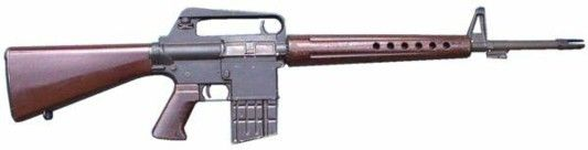 The original AR-10 of the late 1950s. Note the three-prong flash hider and a bayonet lug under the barrel  http://world.guns.ru/assault/usa/armalite-ar-10-e.html