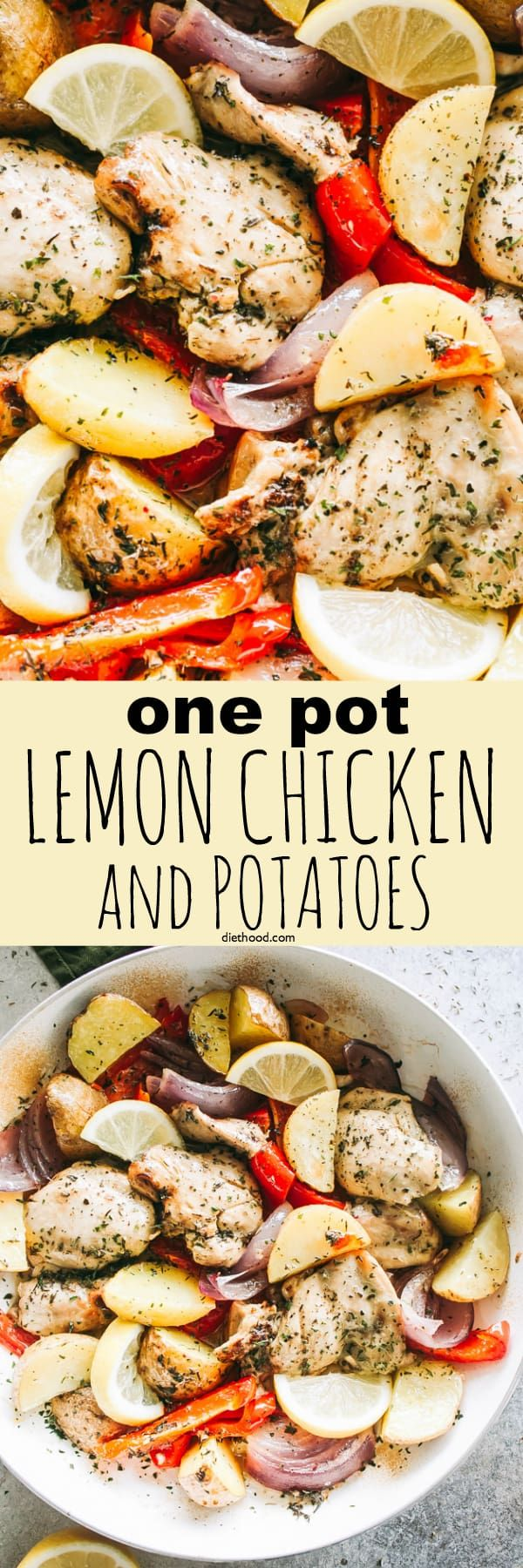 One-Pot Lemon Chicken and Potatoes – This super easy, amazingly flavored dish with lemon chicken, veggies, and potatoes is a complete meal made all in one pot! #chickendinner #onepotmeals #potatoes #healthyeating