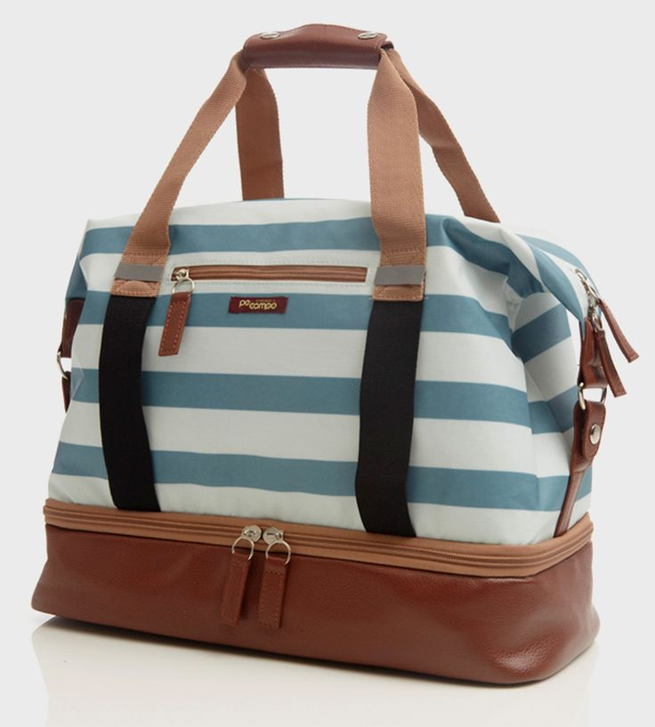 The Midday Weekender Bag is a hybrid travel tote and gym bag that comes complete with a separate bottom compartment for shoes or a wet swimsuit. The bag also is equipped with elastic straps for carrying a yoga mat or jacket, as well as reflective accents and a whole lot of pockets.