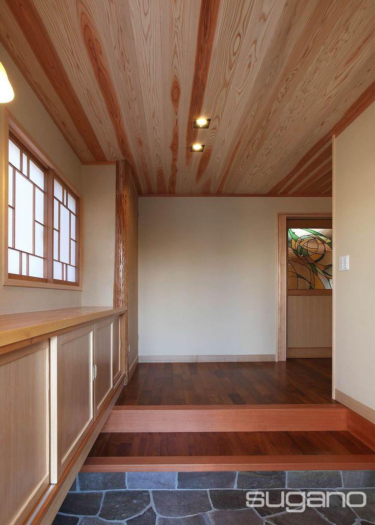 大正浪漫を感じるようなインテリアが好き、お客様のご要望で玄関はちょっとレトロな雰囲気に。 #和風建築 #和風住宅 #和風玄関 #菅野企画設計