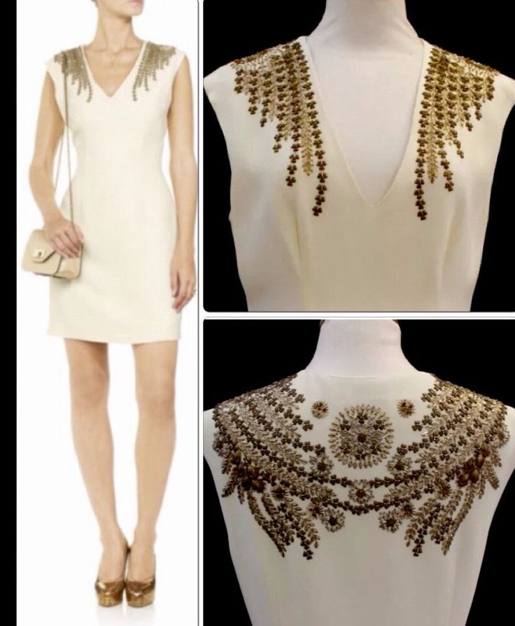 £1200 Moschino Gold Embellished Beaded Crepe Cream Shift Dress UK 12-14 #Moschino #shift #Cocktail