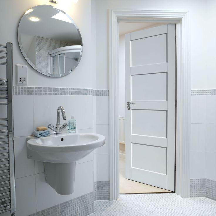 Shaker panel style white internal doors look great with any interior. JB Kind's Calypso Montserrat door. #whitedoors