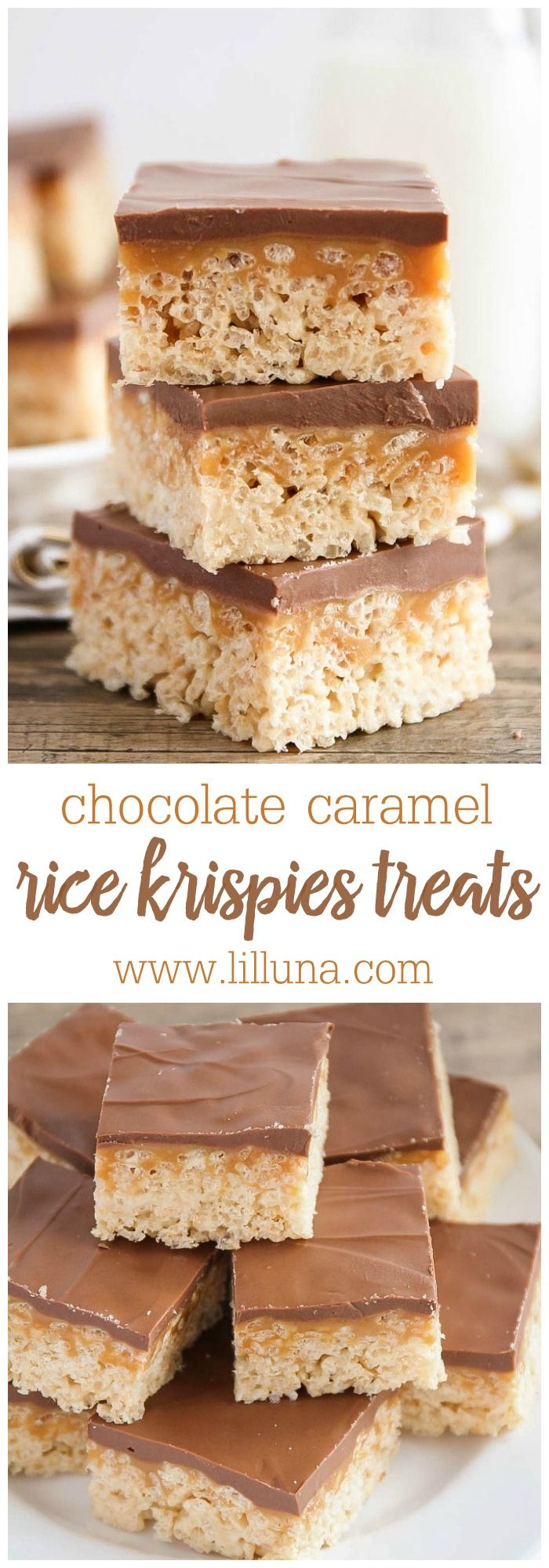 Delicious Chocolate Caramel Peanut Butter Rice Krispies Treats { lilluna.com } A layer of rice krispies, caramel, and melted chocolate chips with peanut butter.