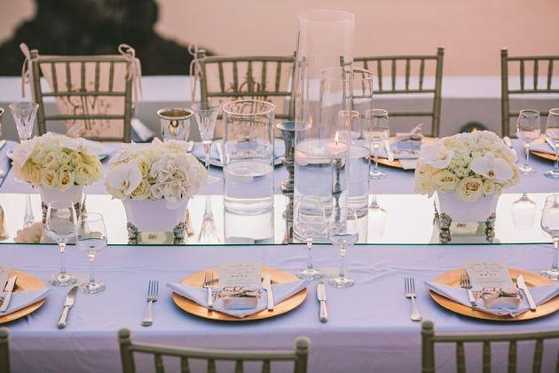 Wedding Table against the Santorini sunset. La Maltese Estate.  Greece Wedding by Stella And Moscha