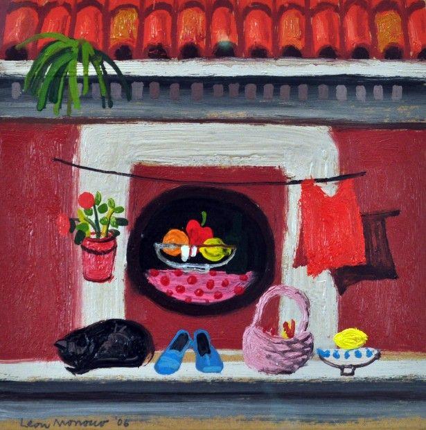 Leon Morrocco RSA RGI Round Window in Rome Oils   Scottish Contemporary Art