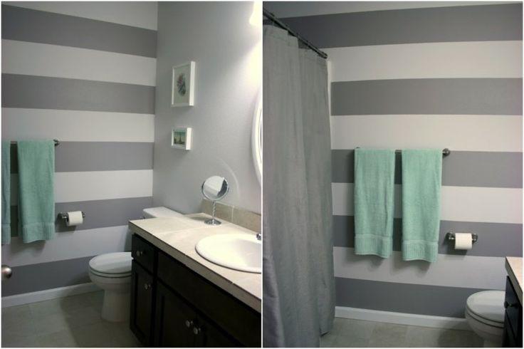 idée de peinture salle de bain grise et blanche à rayure large