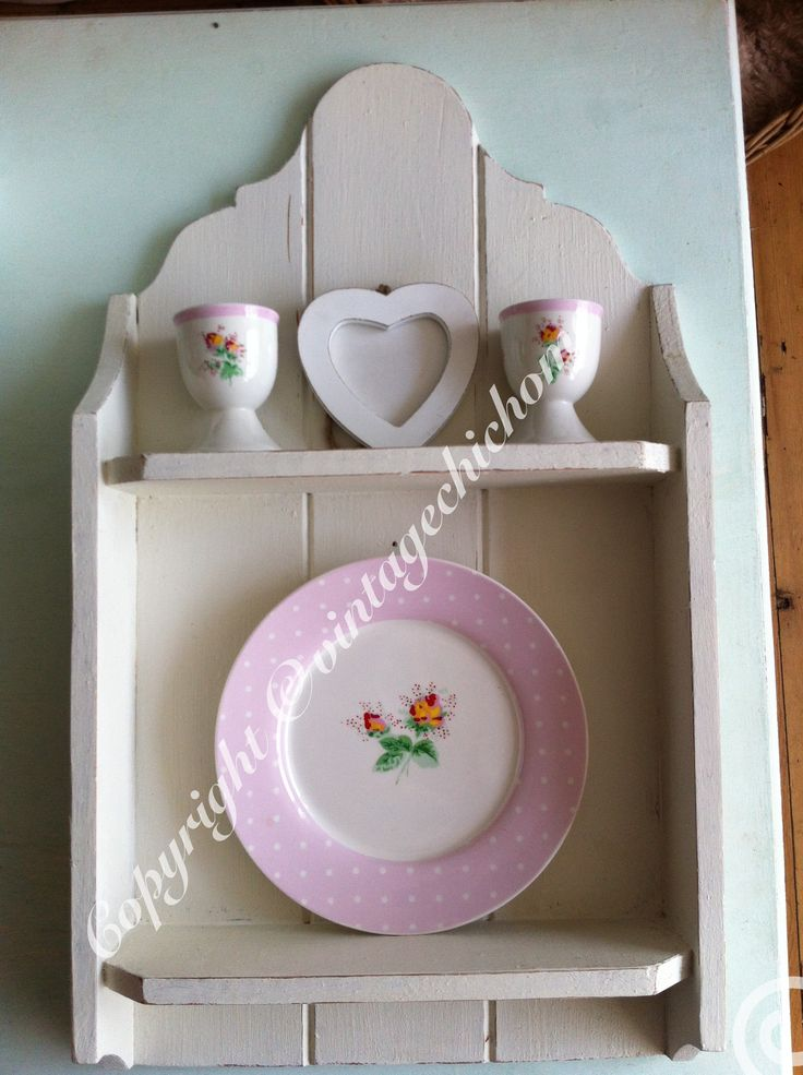 Shabby chic country kitchen wall unit with kath Kidston decoration  Www.facebook.com/VintageChicHomeShabbyChicFurniture  Www.vintagechichome.co.uk