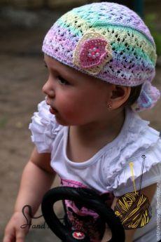 Купить МК-описание Настоящей банданы для девочки спицами - разноцветный, бандана, панамка для девочки, спицами