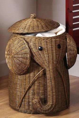 Rattan elephant hamper 22 hx14 d honey home kitchen me encanta home sweet - Elephant hamper wicker ...
