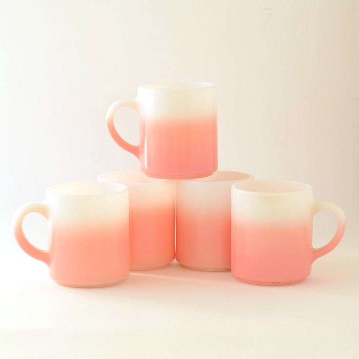 Pink Ombre Milk Glass Mugs