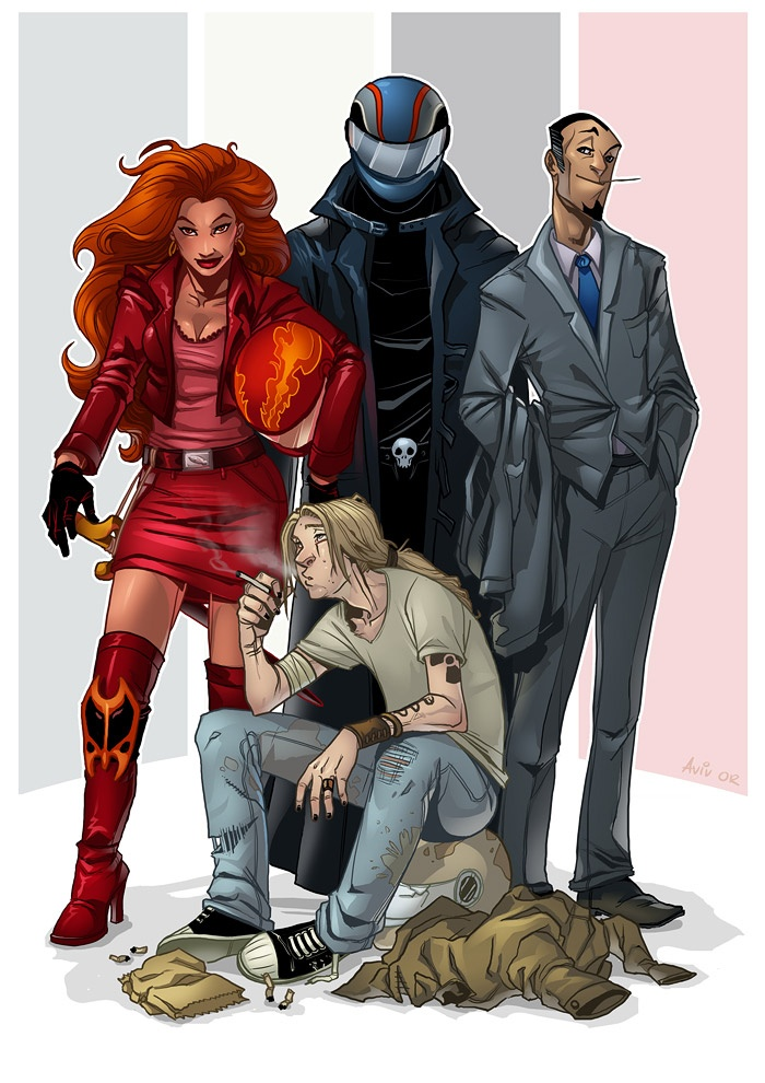 The Four Horsemen from Good Omens. Oh my god I need to reread this book.