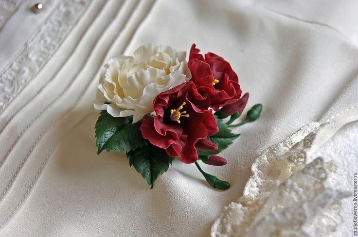 Купить Брошь с цветами марсала и айвори - бордовый, марсала, айвори, брошь, брошь с цветами