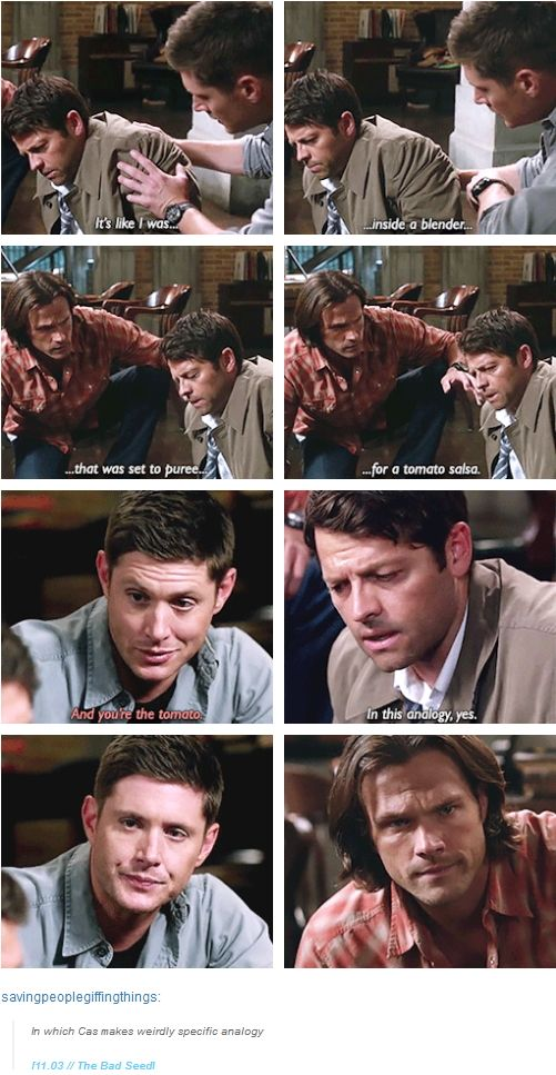 "11x03 The Bad Seed [gifset] - ""It's like I was inside a blender that was set to puree for a tomato salsa."" - Castiel, Sam and Dean Winchester; Supernatural - I agree, this is an oddly specific analogy."