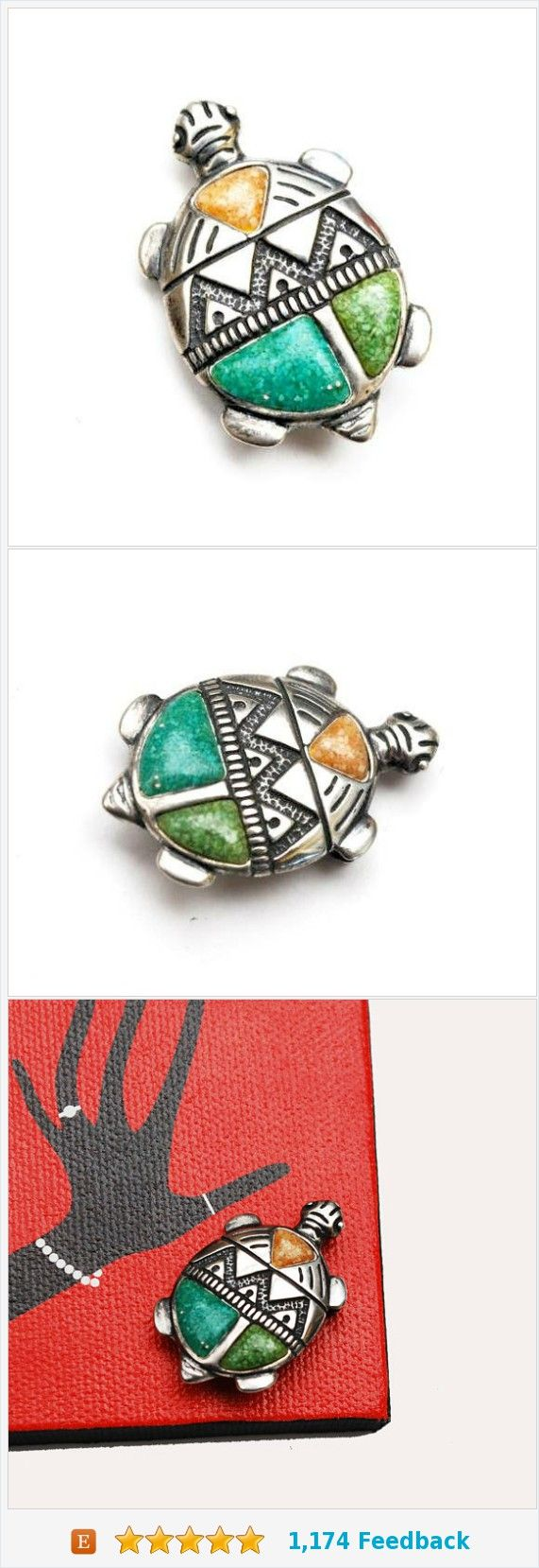Sterling Turtle Brooch Pendant -Gemstone Figurine pin - green blue turquoise orange stone chip - signed Sterl - Southwestern https://www.etsy.com/serendipitytreasure/listing/554034059/sterling-turtle-brooch-pendant-gemstone?ref=listing_published_alert