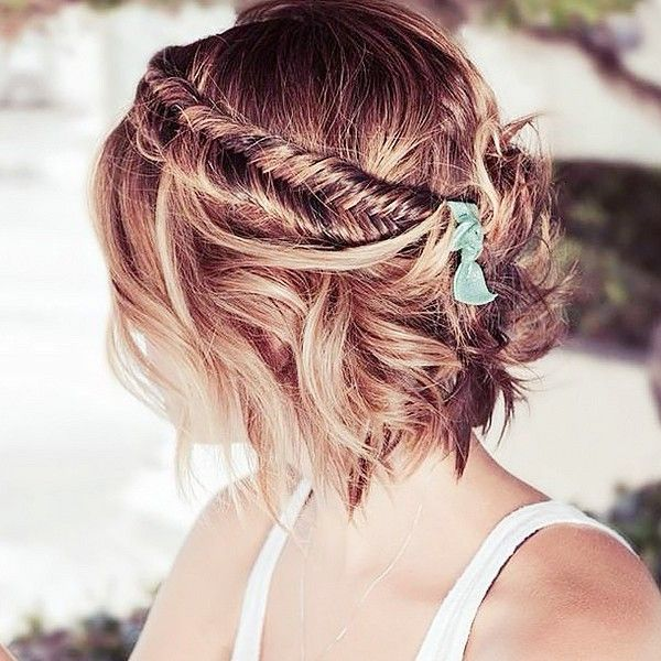 Fishtail Braid w. waves - maybe instead of the bow I could have some flowers in the back.