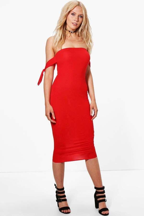 boohoo Lara Tie Sleeve Bardot Midi Dress
