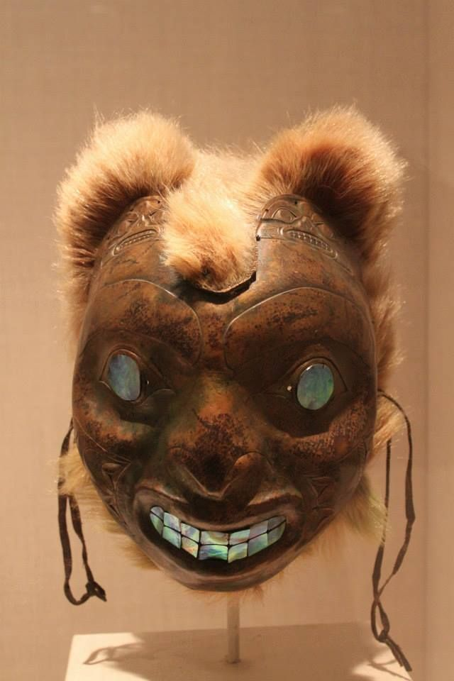Copper brown bear mask, has bear fur abalone eye's and teeth. was on exhibit in the New York central park museum. Photo: Tommy Joseph (Tlingit)
