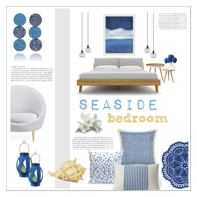 """seaside bedroom"" by levai-magdolna ❤ liked on Polyvore featuring interior, interiors, interior design, home, home decor, interior decorating, Bloomingville, Jonathan Adler, LSA International and Pottery Barn"
