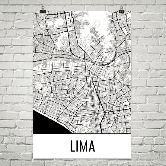 Lima Map Art Print, Lima Peru Art Poster, Lima Print, Lima Wall Art, Lima Poster, Gift, Birthday, Modern, Art