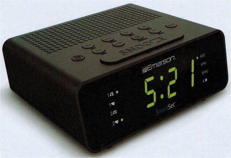 Emerson Smart Set AM FM Clock Radio Auto Daylight Savings Time Free US Shipping