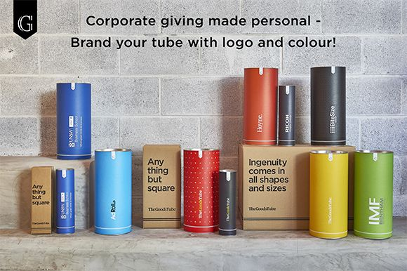 Corporate Giving Made Personal - Costumise The Tube with corporate colour and logo.