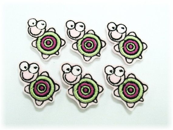 6 pcs of Machine Embroidered Felt Turtles by craftfactory on Etsy, $5.60