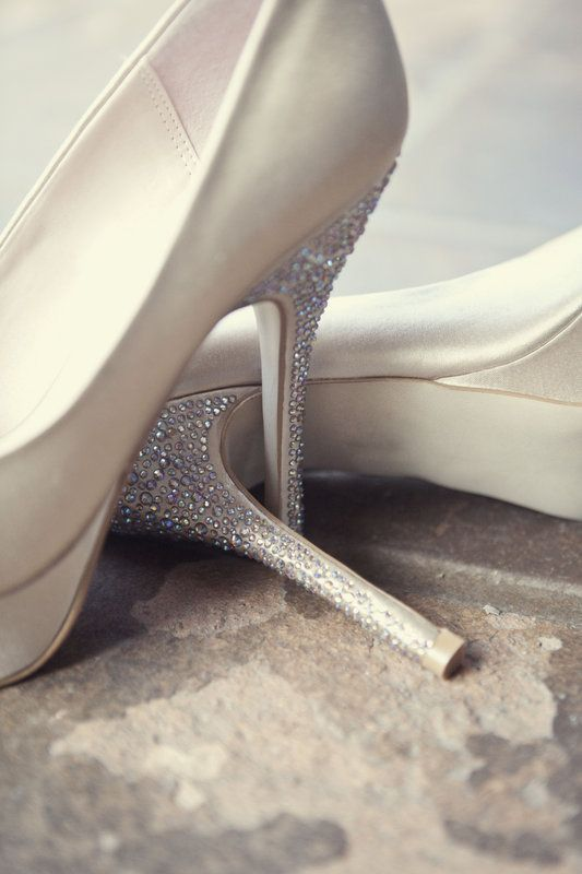 sparkling wedding shoes  Photo By kristina lee photography