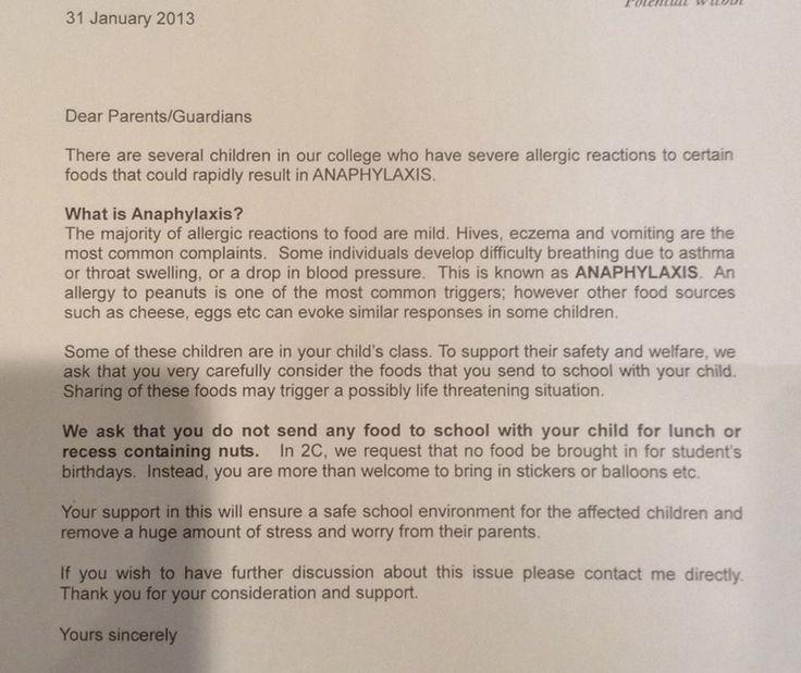 Peanut Allergy Letter To Parents