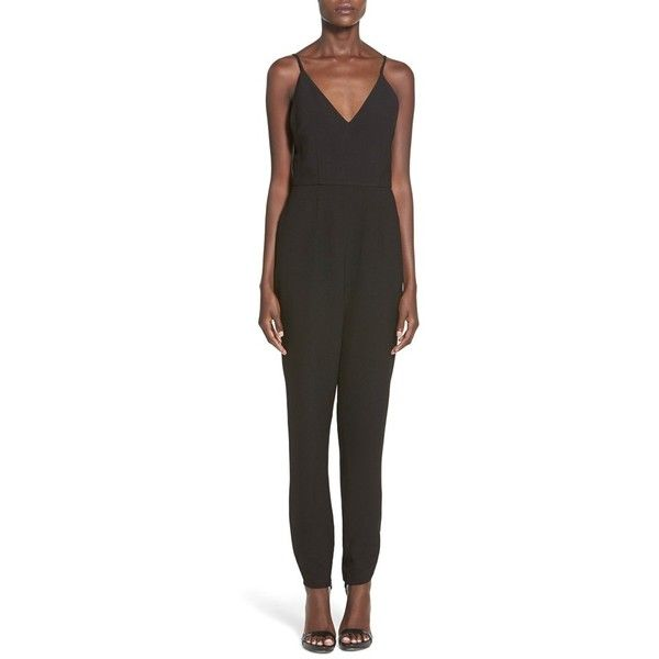 Finders Keepers the Label 'Stand Still' Double V-Neck Jumpsuit (240 SGD) ❤ liked on Polyvore featuring jumpsuits, black, jumpsuits & rompers, black jumpsuit, jump suit, evening jumpsuits and black v neck jumpsuit