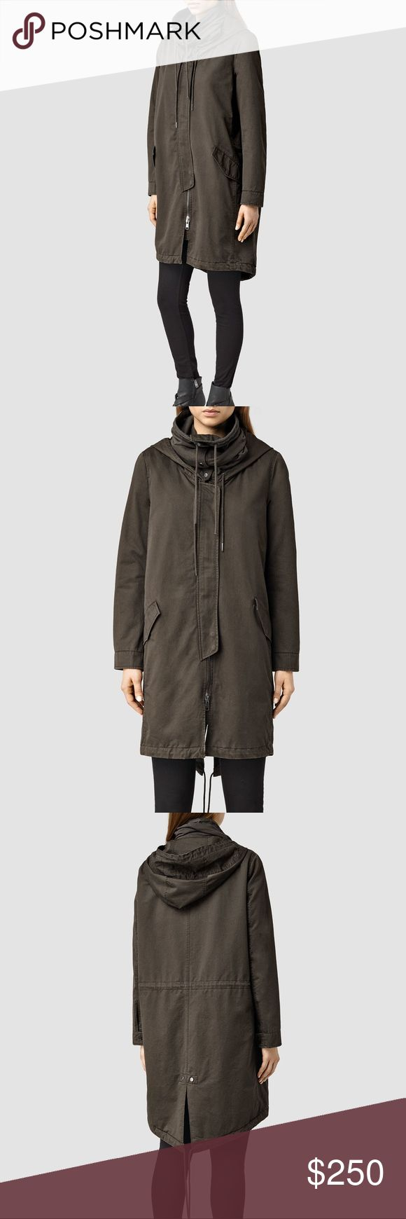 Allsaints Arton Parka size 10US/14UK NWT perfect condition parka by Allsaints. Retails for $468, re-poshing because it's not quite the right fit on me! Beautiful coat, more of a dark khaki color than green. Make me an offer! :) All Saints Jackets & Coats Utility Jackets