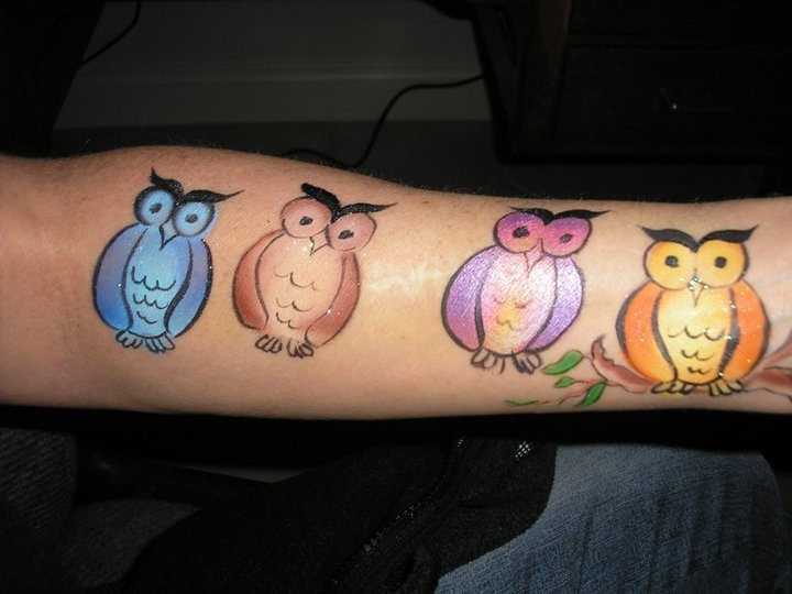 owl face paint design, cheek art idea