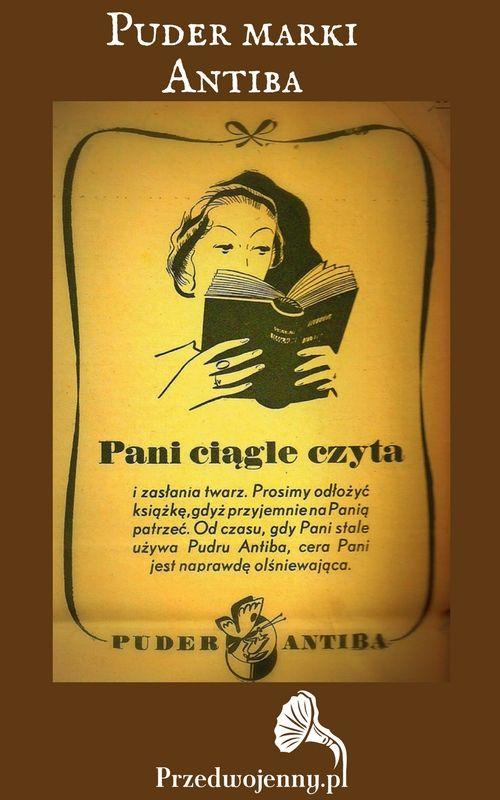 Stara reklama kosmetyków - przedwojenny puder Antiba
