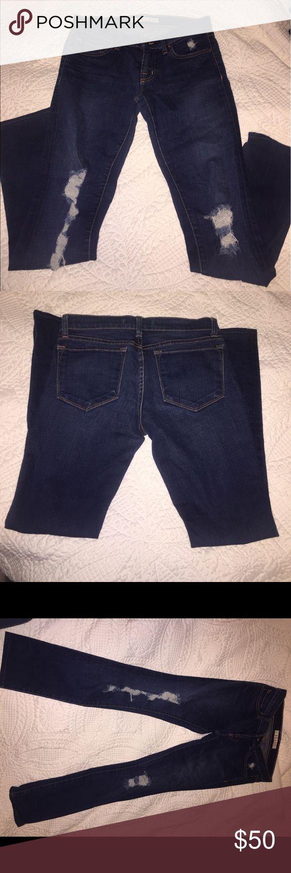 J Brand distressed skinny jeans Like new size 27 skinny jeans. Dark wash. Unfortunately they no longer fit me J Brand Jeans