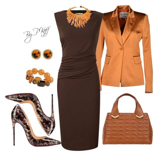 Burnt orange and brown, perfect pairing for this look/color scheme A  fashion look from October 2014 featuring Planet dresses, Adele Fado blazers  y Christian ...