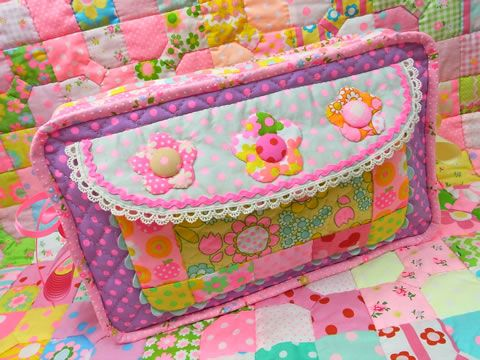 Antique Fabric Pinks Patchwork Quilt Bag Pouch アンティークファブリックピンクス