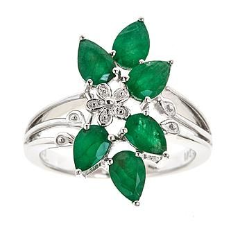 Ladies Sterling Silver Genuine Emerald Cluster Ring