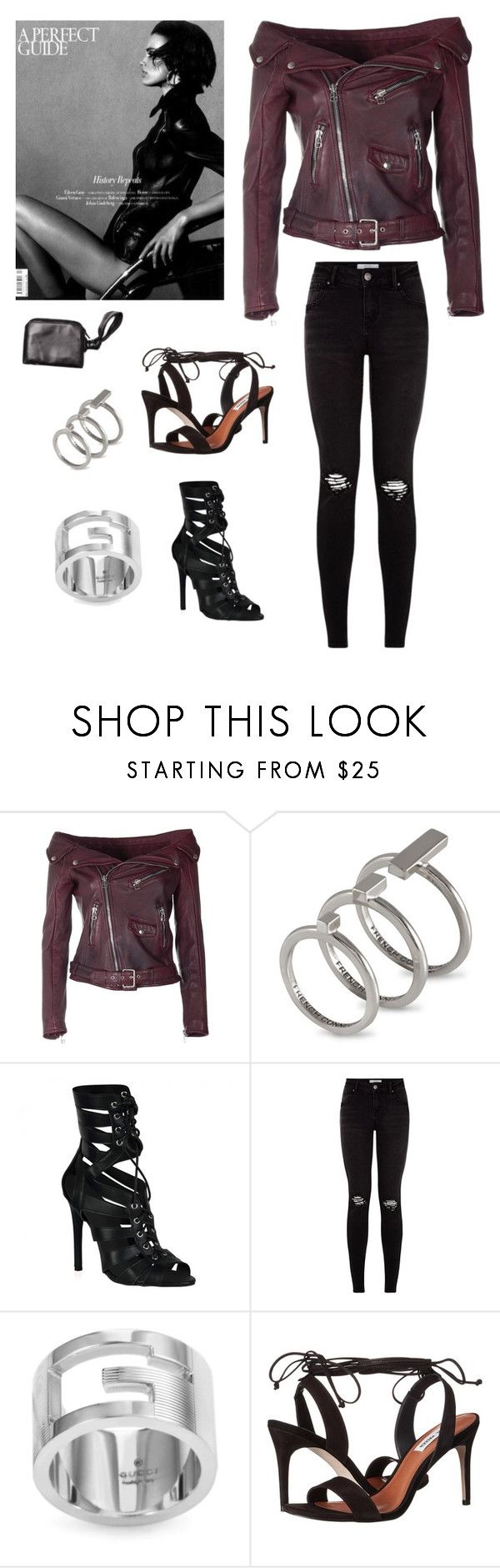 """""""7:10"""" by slimtrim ❤ liked on Polyvore featuring Faith Connexion, French Connection, Gucci, Steve Madden, The Row, black, Leather, autumn, WhatToWear and theturner"""