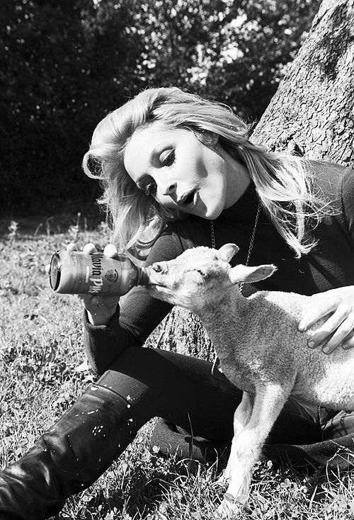 Sharon Tate feeding a lamb on the set of 'Eye of the Devil', 1966.